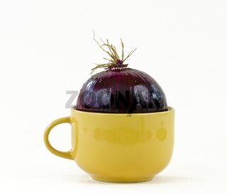 Roter Zwiebel in in gelberTasse mit Henkel
