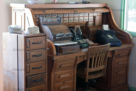 Antique roll top desk with drawers. Buy picture - Photo Antique Roll Top Desk With Drawers Image #3403306