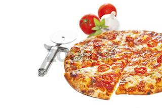 Close-up of stone-backed pizza margarita