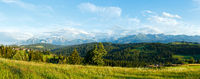 Summer mountain evening country panorama.