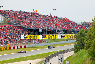 BARCELONA- MAY 9: Racing cars on a  circuit during The Formula 1 Grand Prix at autodrome 'Catalunya Montmello' on May 9