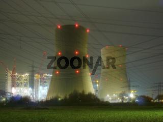 Kernkraftwerk Hamm - Germany - nachts