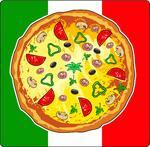 Pizza meal on Italian flag