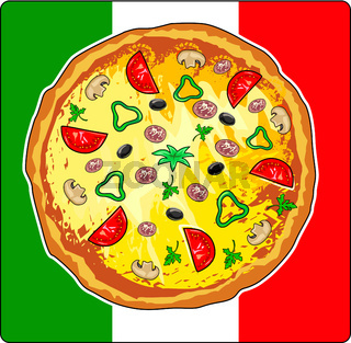 Pizza meal on Italian flag