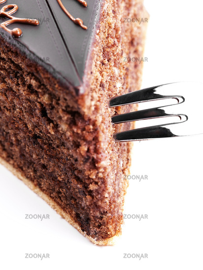 a fork in a chocolate cake