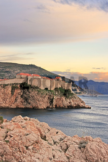 Old town of Dubrovnik at sunset, Croatia