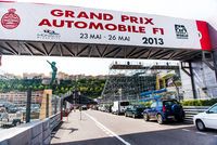MONACO - MAY 02: Grand Prix Automobile F1 sign-board. Three weeks until of opening the Grand Prix Automobile F1 on May 02, 2013 in Monaco. The Monaco Grand Prix is a Formula One motor race held each year on the Circuit de Monaco, run since 1929. This year