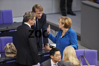 Images of Chancelor Merkel during Extraordinary Session of the German Parliament