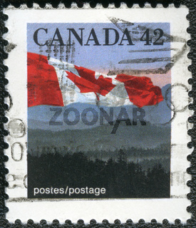 CANADA - 1990: shows Canadian flag and Hills