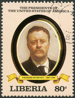 LIBERIA - 1982: shows President Theodore Roosevelt (1901-1909), series the Presidents of the USA