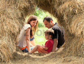Happy Family in haystack