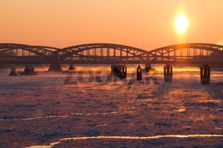 Hamburg - Hamburger Hafen Elbbrücken im Winter