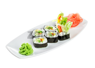 Sushi (Yasai Roll) on a white background
