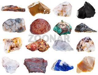 set of rock minerals