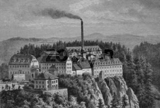 Die Rabenauer Moebelfabrik, historischer Stich, ca