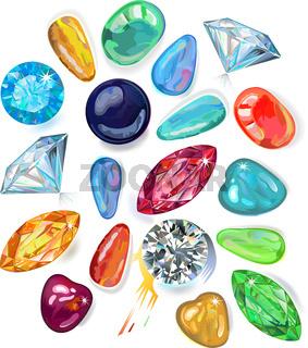 Array of precious stones