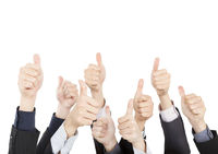 Business People with Thumbs Up isolated on White B