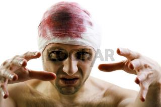 Bandage on blood wound head