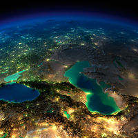 Night Earth. Caucasus and the Caspian Sea
