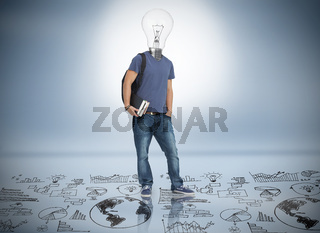 Student with light bulb for a head holding books