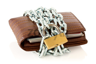 Wallet in chains with padlock