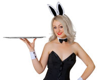 Girl - waitress in a rabbit costume with tray