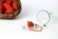 Mason jar and fresh strawberries
