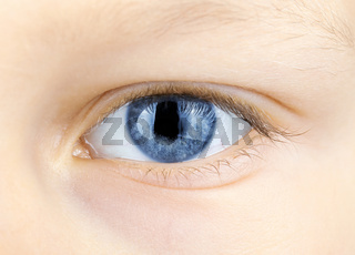 blue eye of young child
