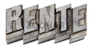 the word 'Rente', German for pension, Hot metal printing setting