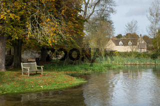 Seat overlooking deep ford in Shilton Oxford
