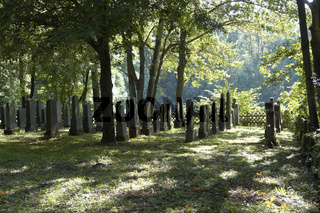 rows with old gravestones