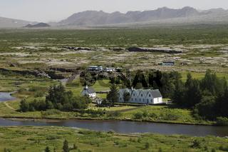 Þingvallakirkja (Thingvellir Church) and Þingvallabær (Prime Minister's summer house)