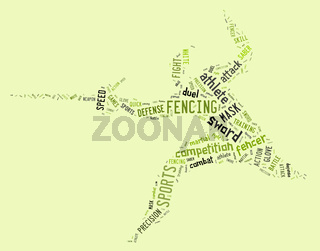 fencing pictogram with related wordings on green background