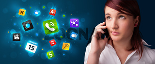 Young woman calling by phone with various icons