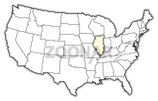 Map of the United States, Illinois highlighted