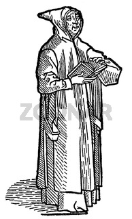 Capuchin monk, historical illustrtion from the 19th Century, after a woodcut from 1492