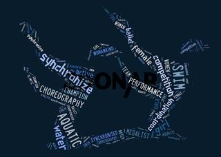 Aquatics Synchronized Swimming pictogram on blue background