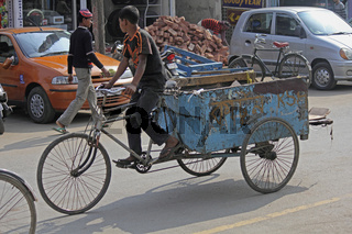 A cycle rickshaw. dibrugarh assam