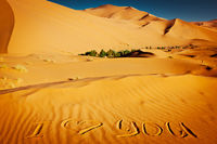 Words I love you written in the sand dunes