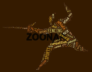 fencing pictogram with related wordings on brown background