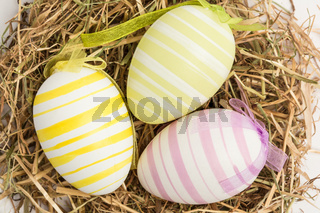Close up on three easter eggs