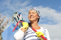 Spring cleaning woman outdoor