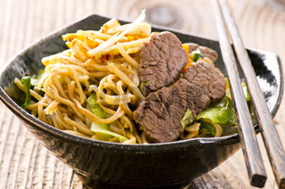 fried egg noodles with beef