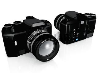 reflex camera on a white background