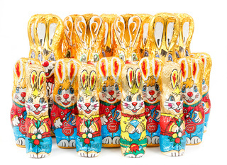 group of easter chocolate rabbits - bunny
