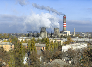Soviet-era thermal power plant in the midst of residential area, Gresovskiy, Crimean autonomy, Ukraine
