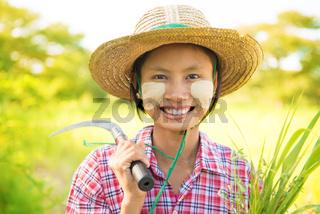 Pretty Burmese farmer