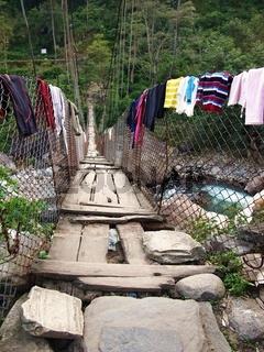 Old suspension bridge in Nepal