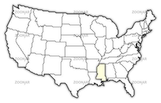 Amerika Karte Schwarz Weiß.Photo Map Of The United States Mississippi Highlighted Image 2717946