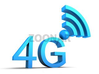 4G Symbol in 3D - Blau